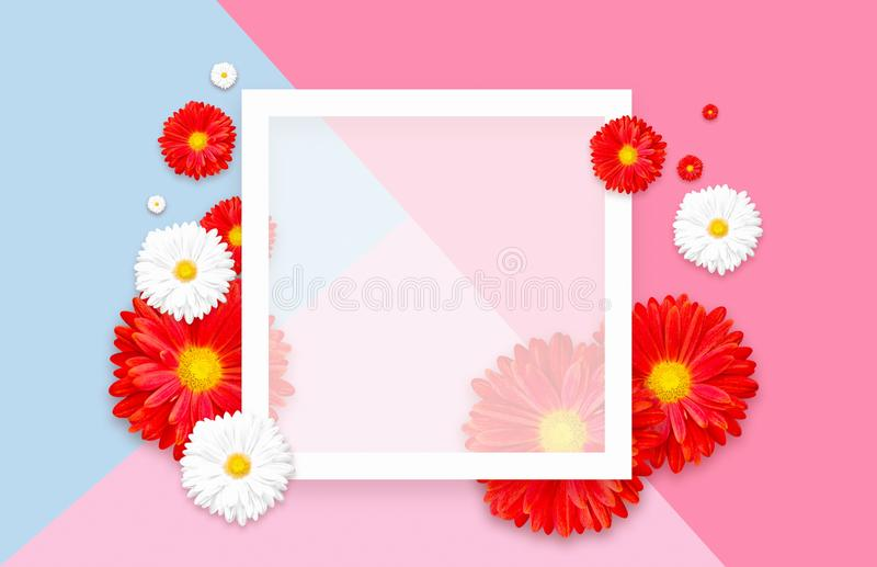 Fond avec la belle fleur colorée Wallpaper les insectes, invitation, affiches, brochure, remise de bon photo stock