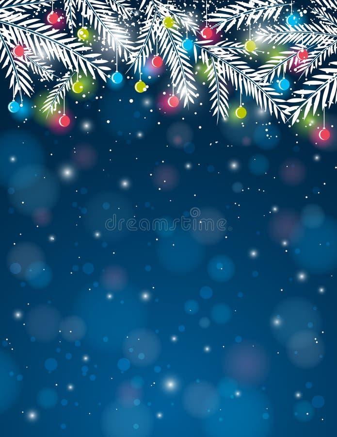 Fond avec la boule de brindille et de Noël de pin, VE illustration stock