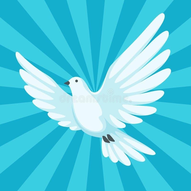 Fond avec la colombe blanche Beaux foi de pigeon et symbole d'amour illustration stock