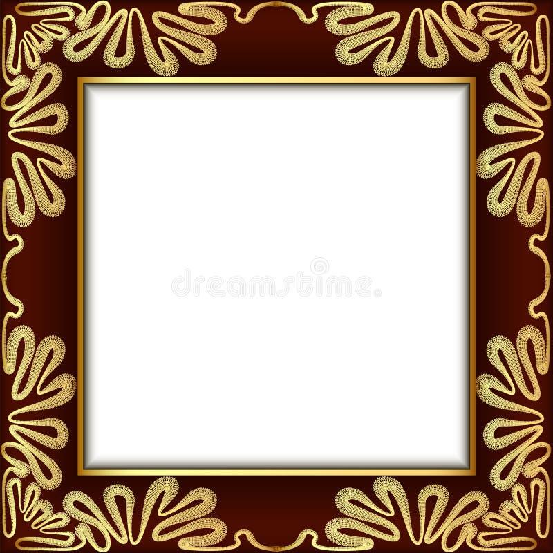 Fond avec la dentelle d'or et endroit pour le texte illustration stock