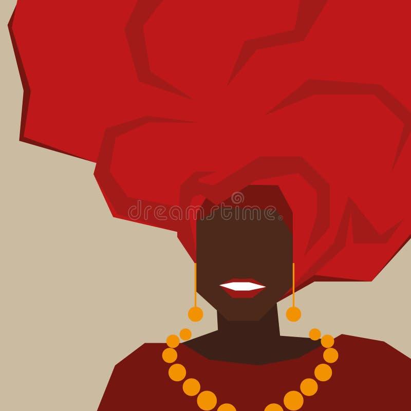 Fond avec la femme de couleur dans le turban Vecteur illustration stock