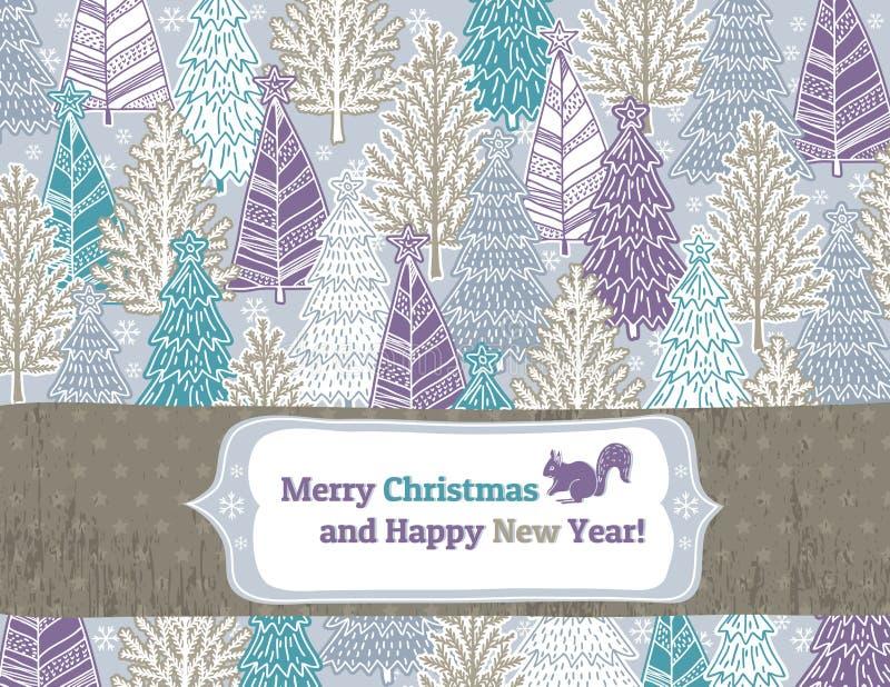 Fond avec la forêt d'arbres de Noël,  illustration libre de droits