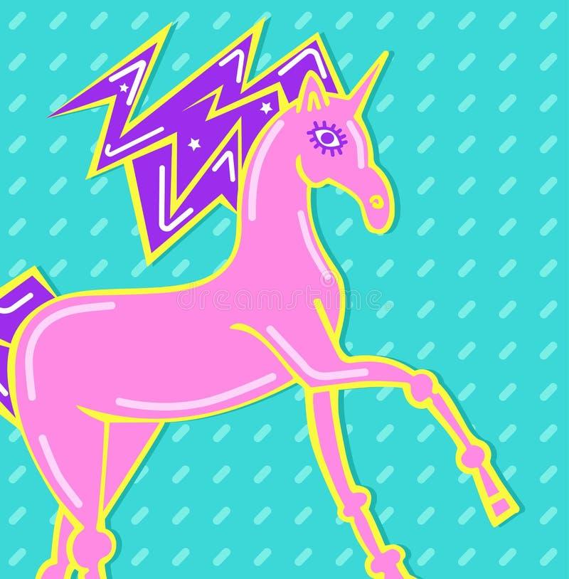 Fond avec la licorne magique d'imagination pour le papier peint Crinière avec les étoiles Licorne courante et sauter avec des éto illustration de vecteur
