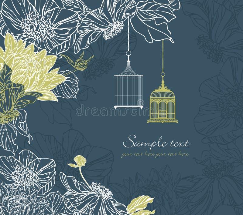 Fond avec le birdcage et les fleurs illustration libre de droits