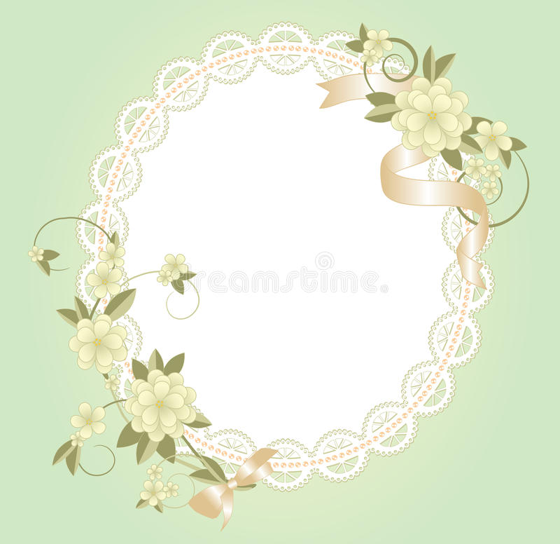 Fond avec le cadre de dentelle avec des fleurs illustration stock