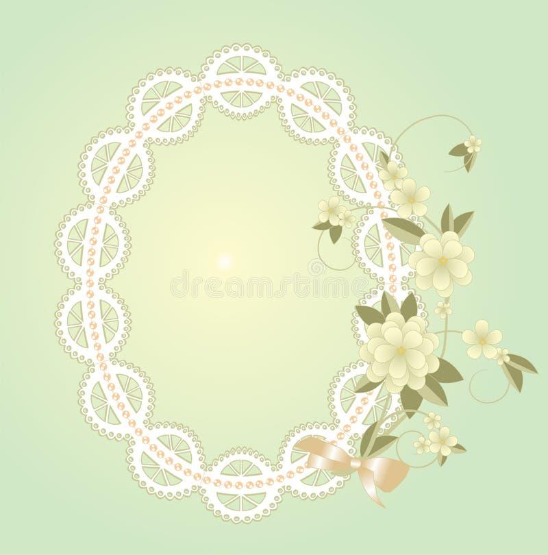 Fond avec le cadre de dentelle avec des fleurs illustration de vecteur