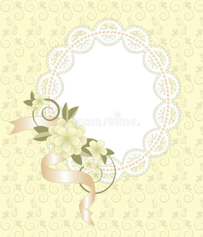 Fond avec le cadre de dentelle avec des fleurs illustration libre de droits