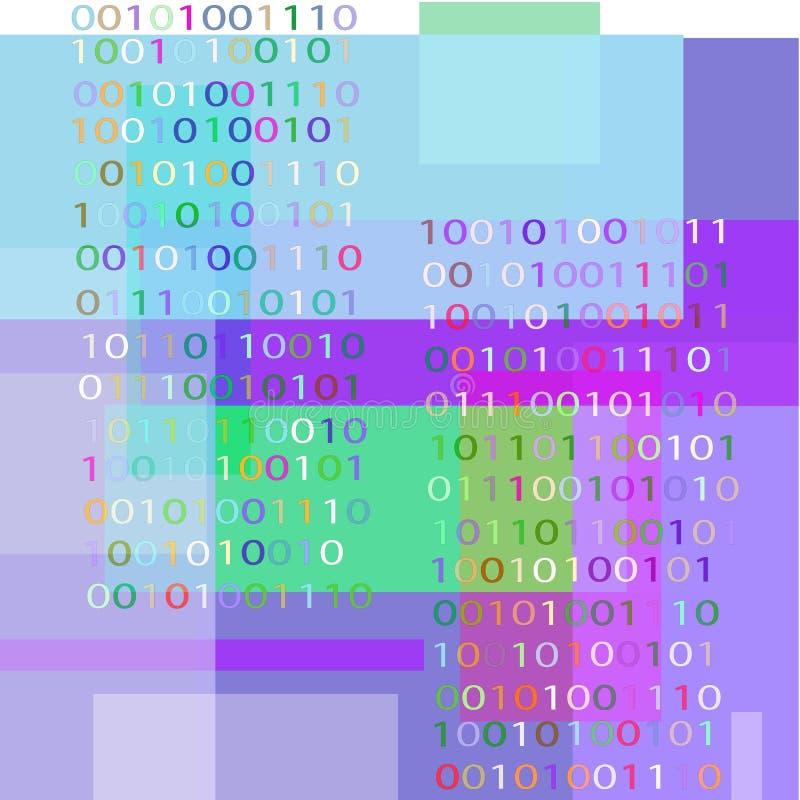 Fond avec le code binaire et les formes géométriques de couleurs bleues illustration libre de droits