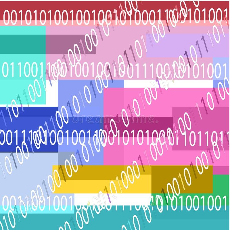Fond avec le code binaire et les formes géométriques de couleurs bleues illustration stock