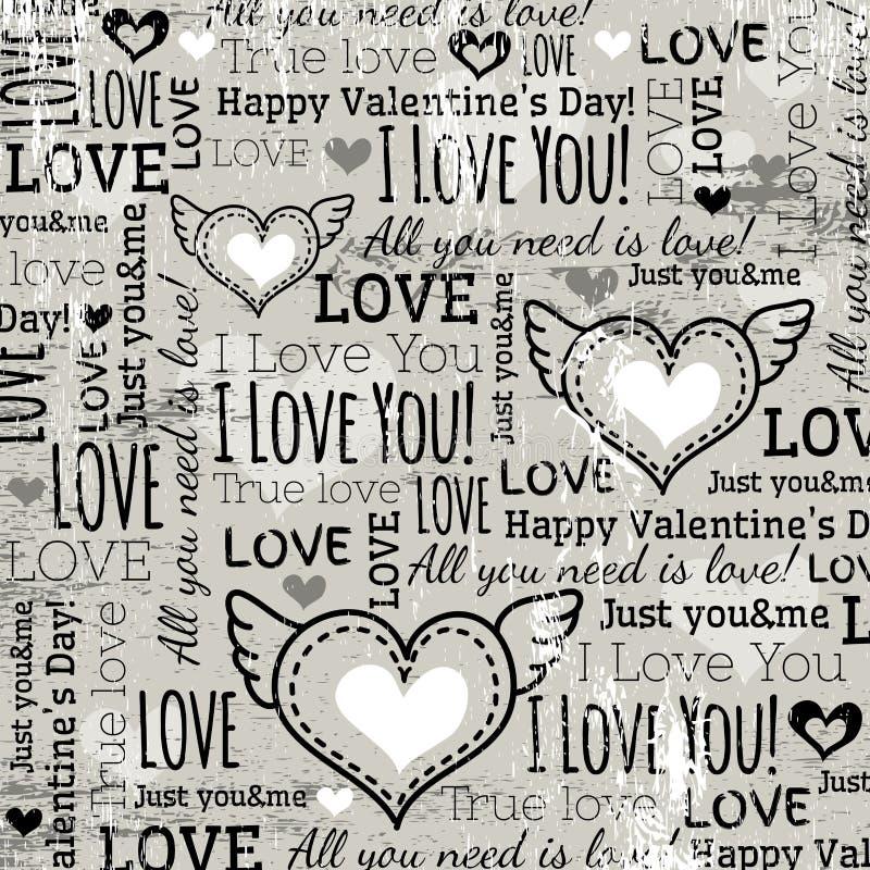 Fond avec le coeur de valentine et le texte de souhaits,  illustration libre de droits