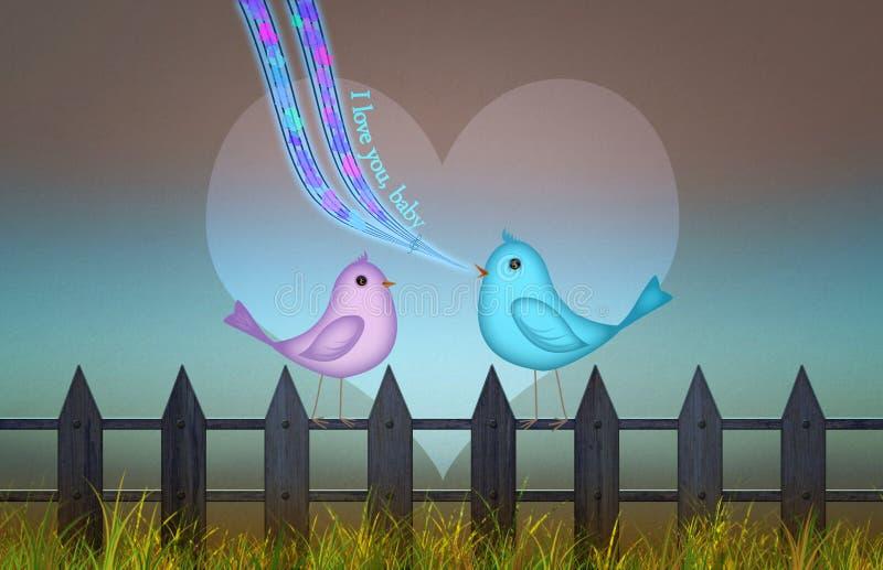 Fond avec le coeur mignon et oiseaux pour le jour du ` s de valentine illustration de vecteur