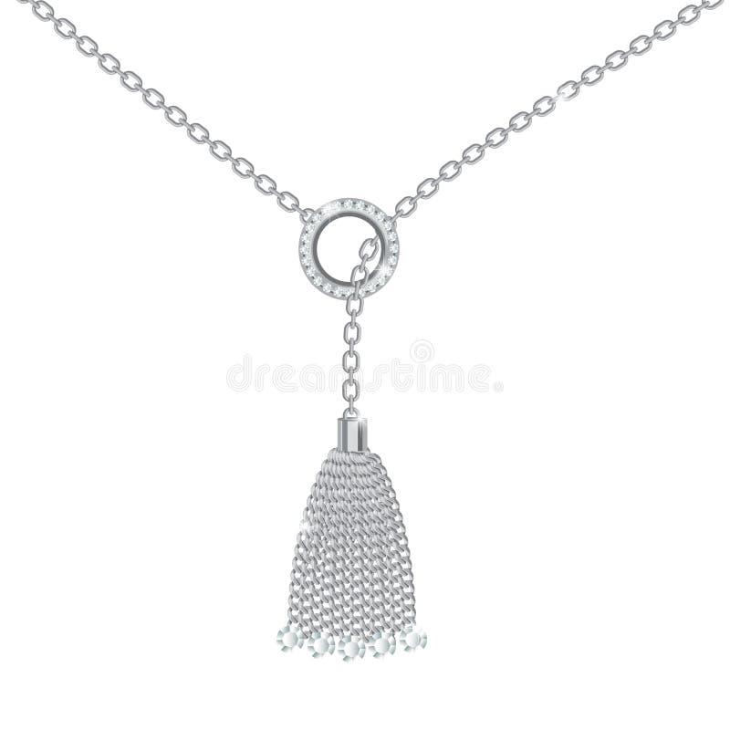 Fond avec le collier m?tallique argent? Gland, pierres gemmes et chaînes Sur le blanc Illustration de vecteur photos stock