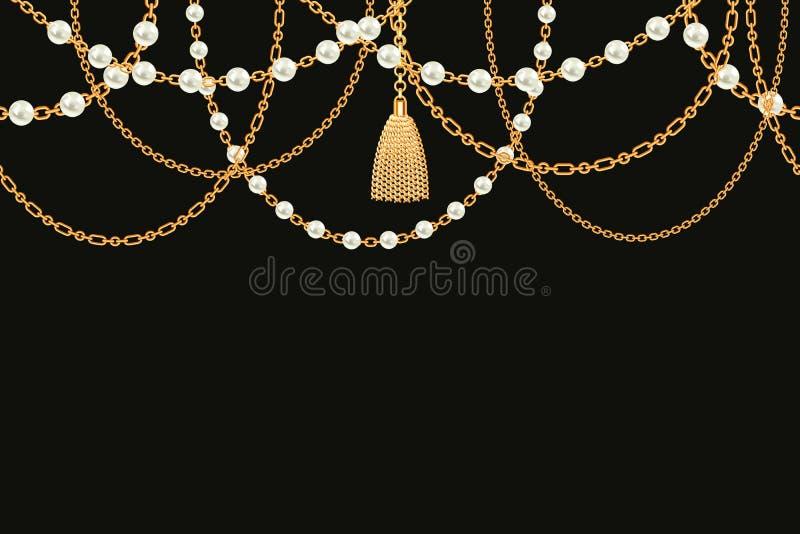 Fond avec le collier m?tallique d'or Gland, perles et cha?nes sur le noir Illustration de vecteur photos libres de droits
