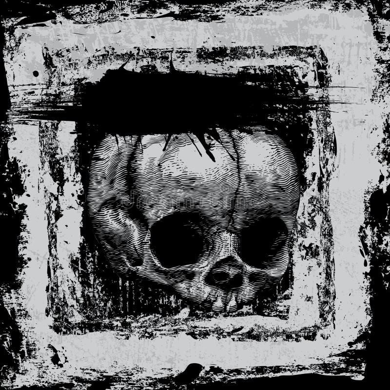 Fond avec le crâne dans le type grunge illustration libre de droits