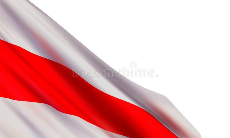 Fond avec le drapeau blanc blanc réaliste de la république de Bielorussie illustration stock