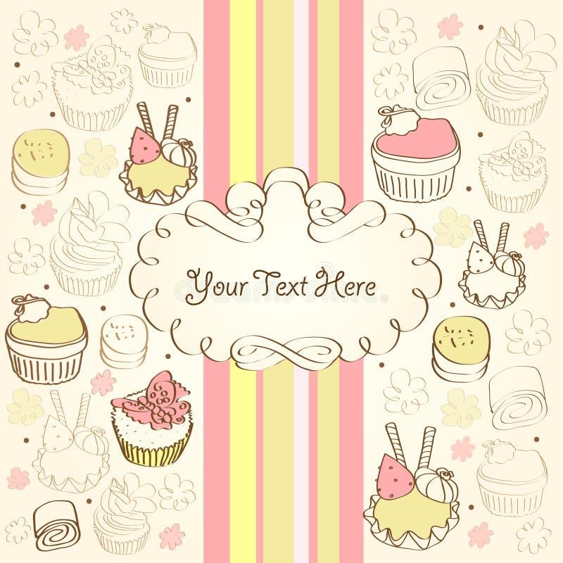 Fond avec le gâteau illustration stock