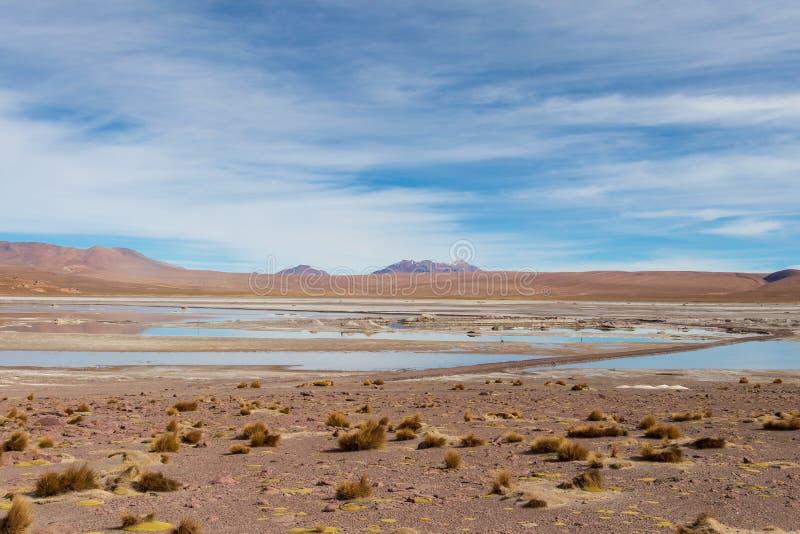 Fond avec le paysage stérile de désert dans le Bolivien les Andes, dans la réserve naturelle Edoardo Avaroa image stock