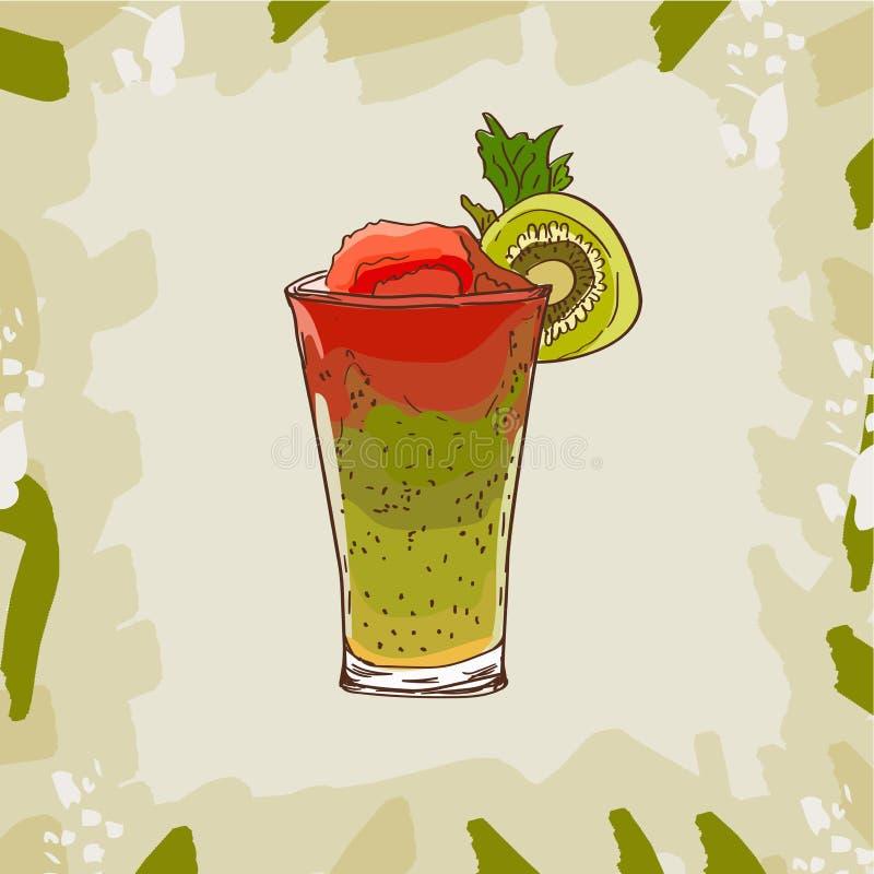 Fond avec le pot de verrerie avec du jus frais de smoothie de kiwi de pastèque Detox pour la santé Illustration de vecteur illustration libre de droits