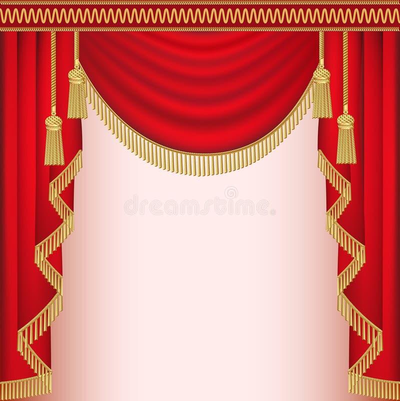 Fond avec le rideau rouge en velours avec des glands illustration de vecteur