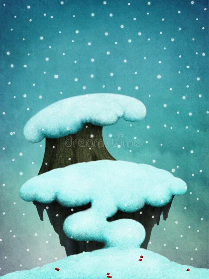 Fond avec les arbres neigeux illustration libre de droits