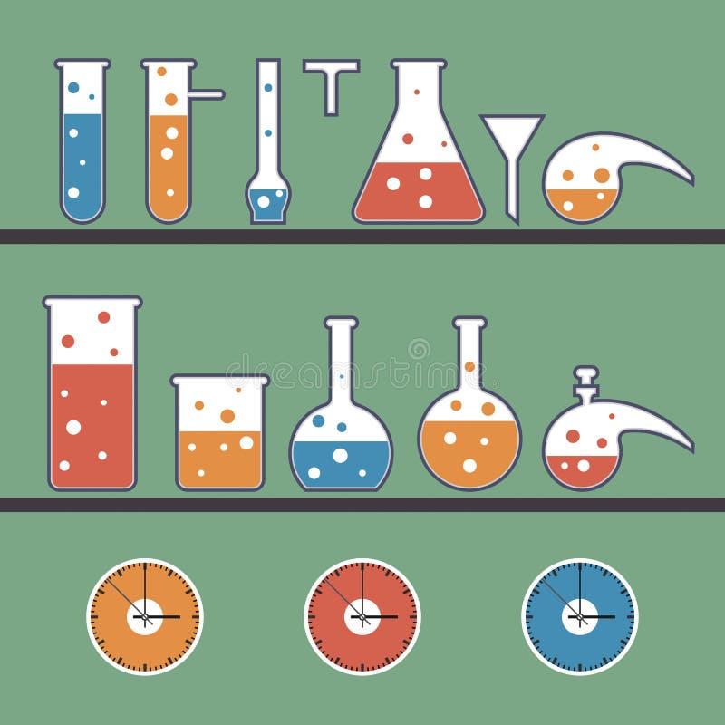 Fond avec les articles chimiques illustration de vecteur