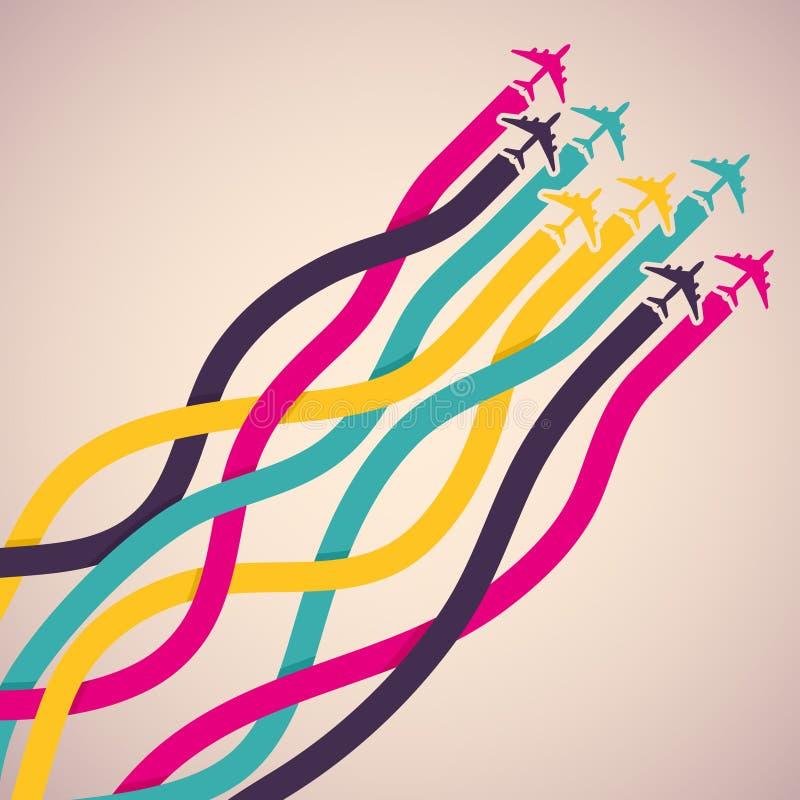 Fond avec les avions colorés illustration stock