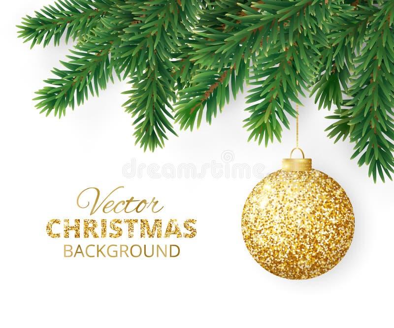 Fond avec les branches d'arbre de Noël de vecteur et la boule accrochante de scintillement illustration de vecteur