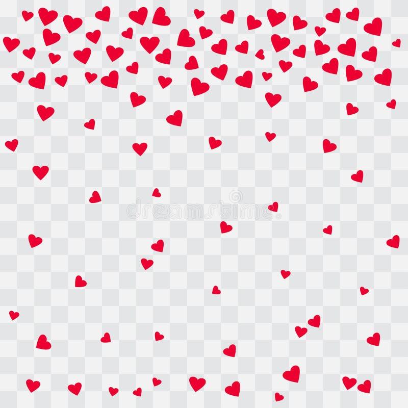 Fond avec les coeurs rouges Coeurs en baisse sur le fond transparent Vecteur illustration stock