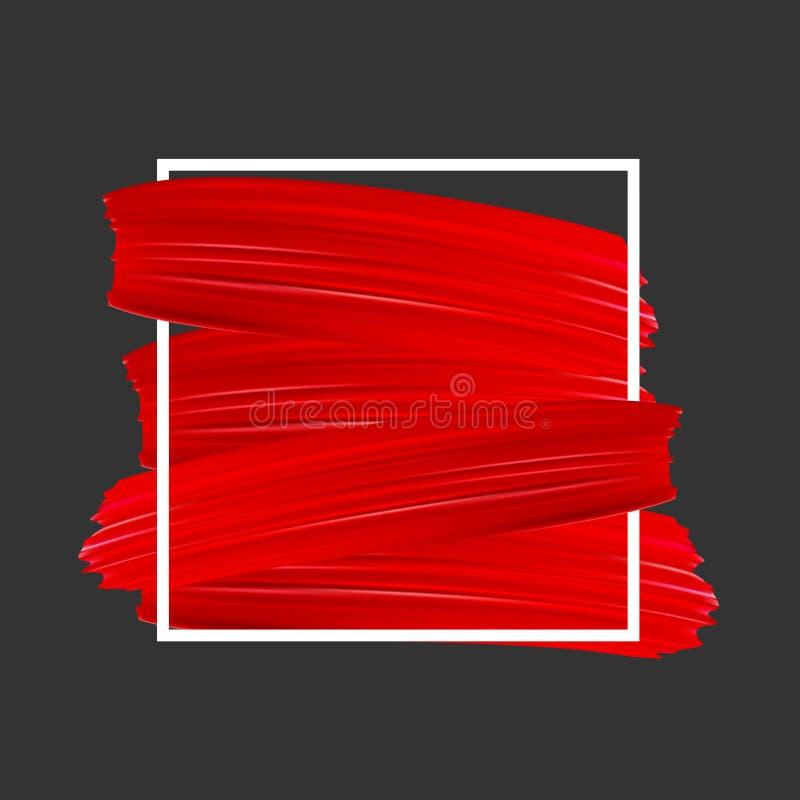 Fond avec les courses rouges de pinceau illustration libre de droits