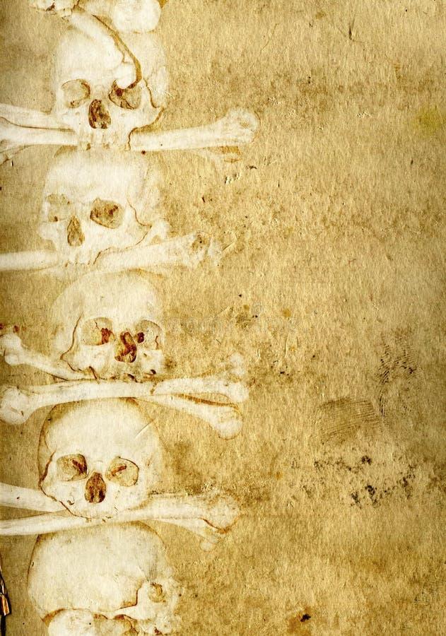 Fond avec les crânes et les os humains illustration de vecteur