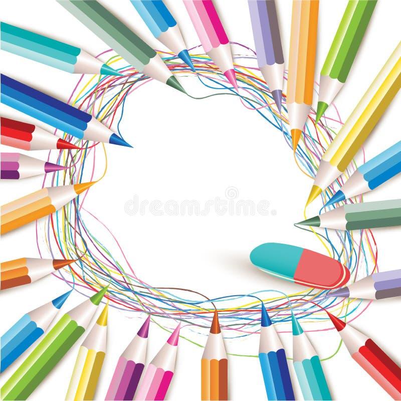 Fond avec les crayons colorés illustration de vecteur