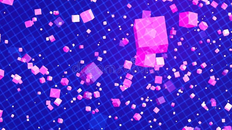 Fond avec les cubes gentils en pourpre de matrice illustration libre de droits
