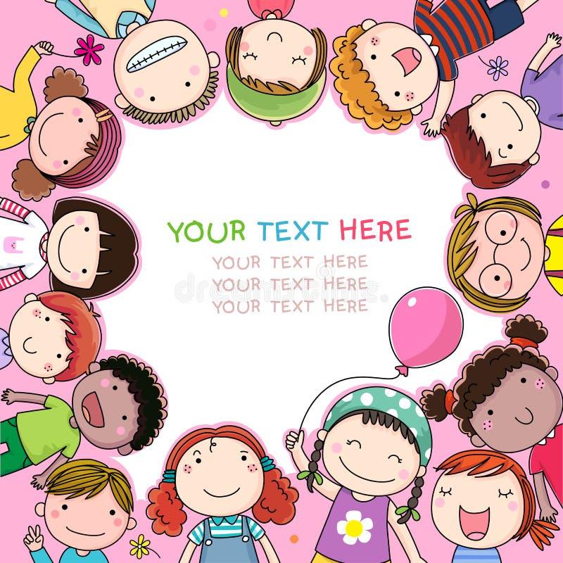 Fond avec les enfants mignons de bande dessinée illustration stock