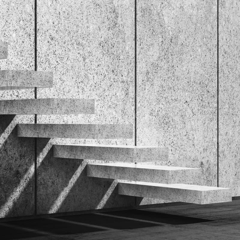 Fond avec les escaliers concrets illustration 3D illustration stock
