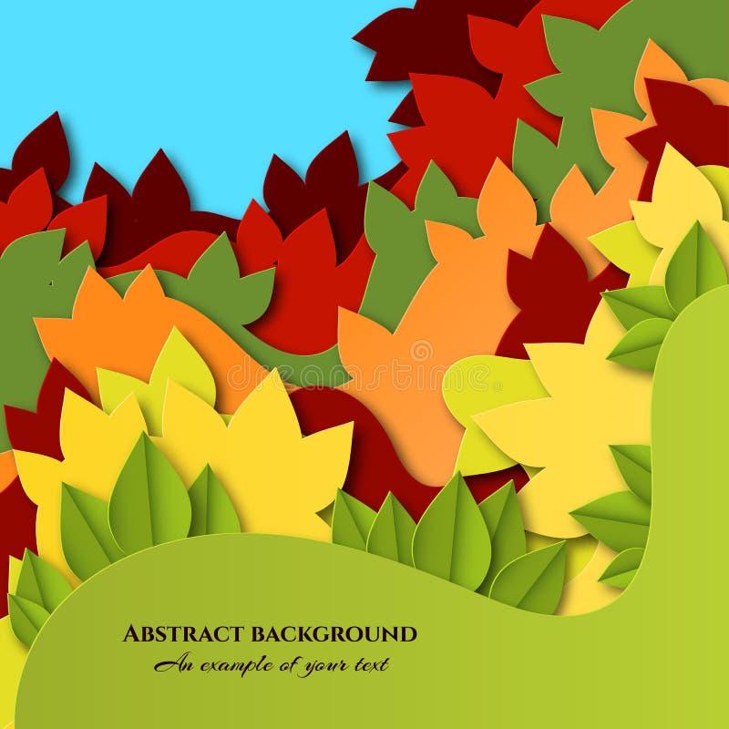 Fond avec les feuilles colorées dans le style coupé de papier Conception posée d'automne pour des affiches, invitations, cartes d illustration libre de droits