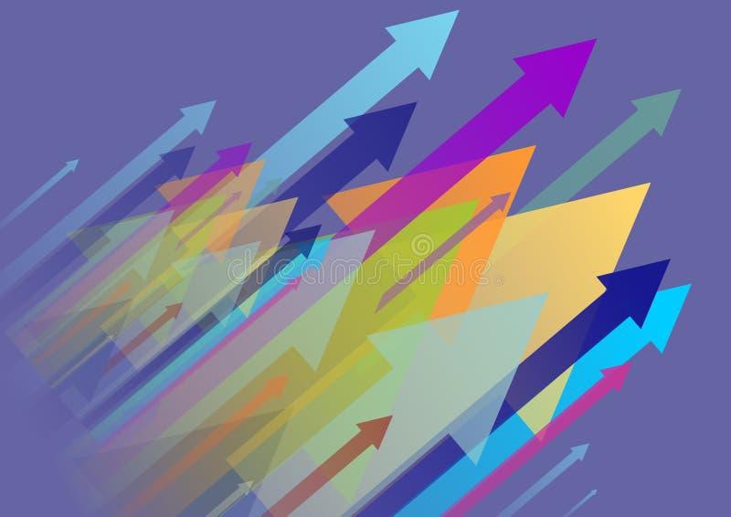 Fond avec les flèches colorées dans le dessus photo stock