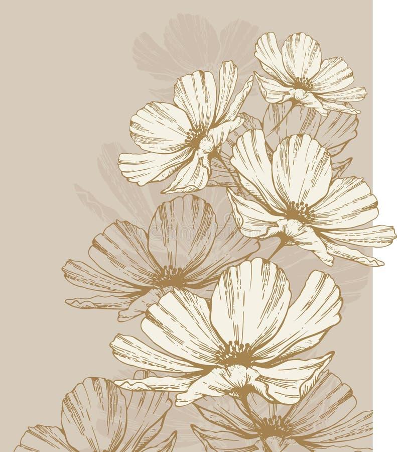 Fond avec les fleurs de floraison illustration de vecteur