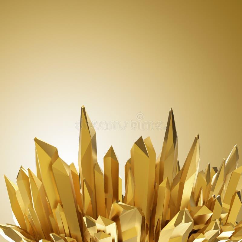 Fond avec les formes 3d en cristal d'or pointues illustration libre de droits