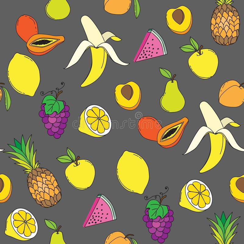 Fond avec les fruits juteux Configuration sans joint de fruit Illustration de vecteur images libres de droits