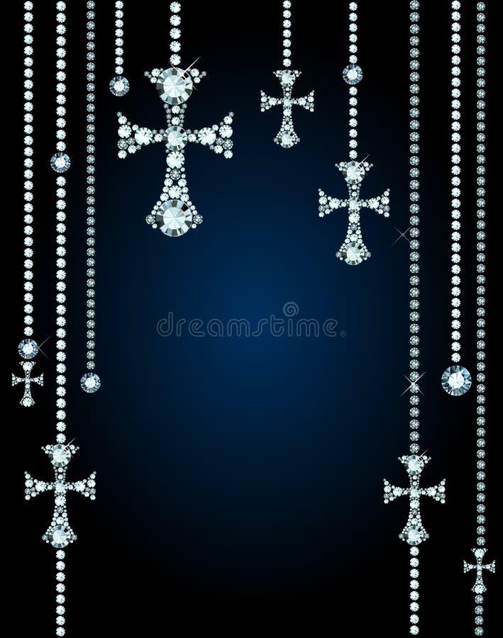 Fond avec les gemmes et le Diamond Crosses illustration stock