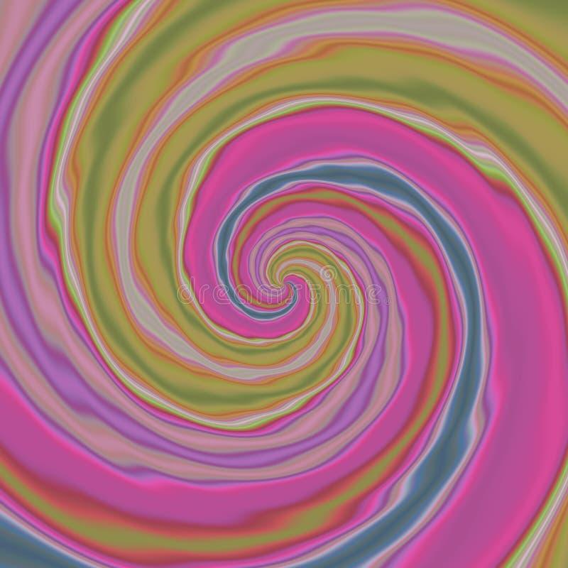 Fond avec les modèles en spirale colorés dans, pourpre, verte et bleue, irrégulière remous de relief par lumière gauchère rose illustration stock