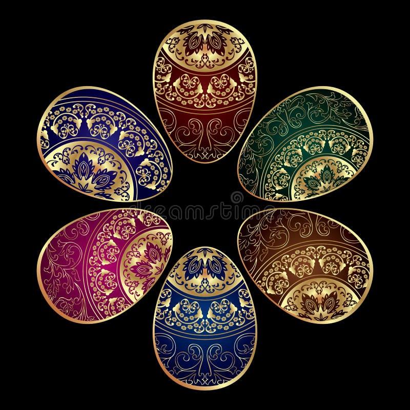 Fond avec les oeufs de pâques décorés colorés illustration libre de droits