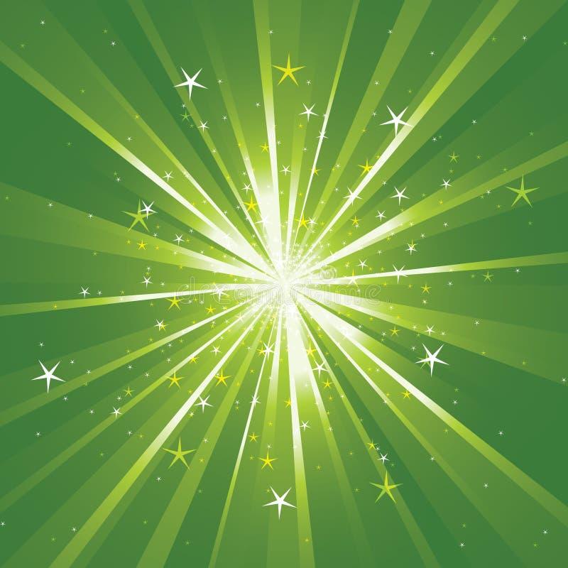 Fond avec les rayons légers et les étoiles illustration stock