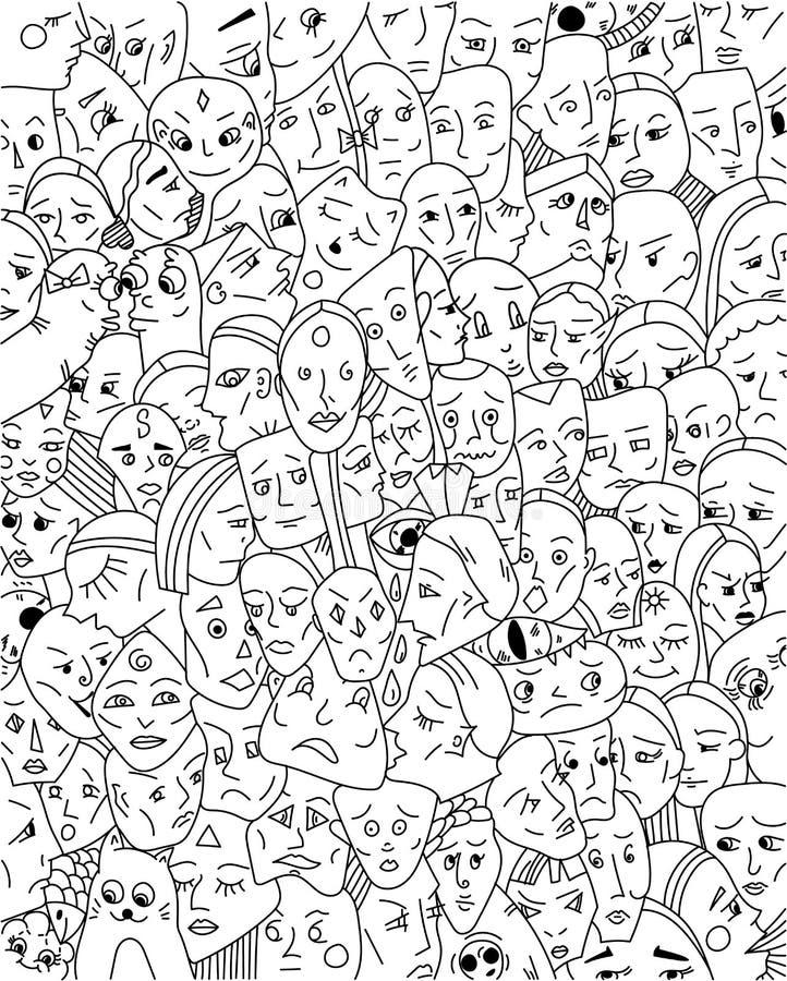Fond avec les visages étranges image stock