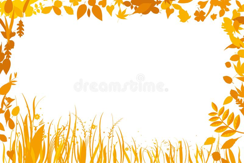 Fond avec un cadre sec de feuilles Copiez l'espace illustration de vecteur