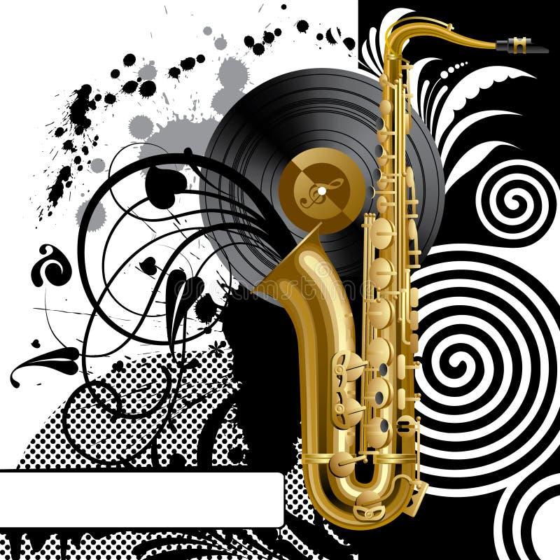 Fond avec un saxophone illustration libre de droits