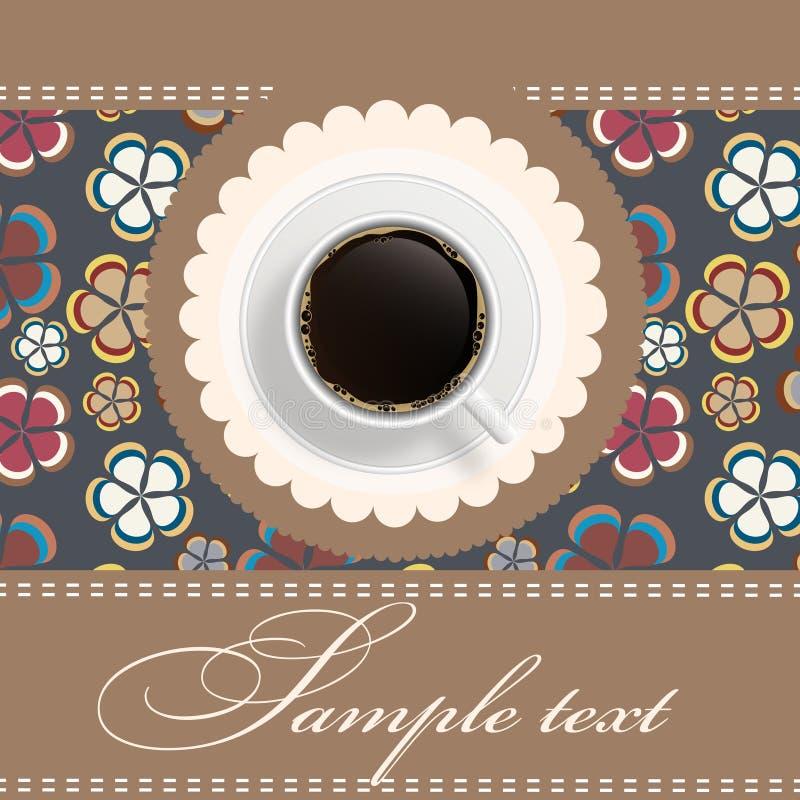 Fond avec une cuvette de café. invitation. illustration stock