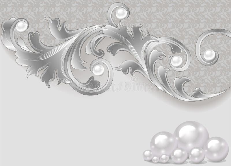 Fond avec une dispersion des perles et d'un ornement argenté illustration de vecteur