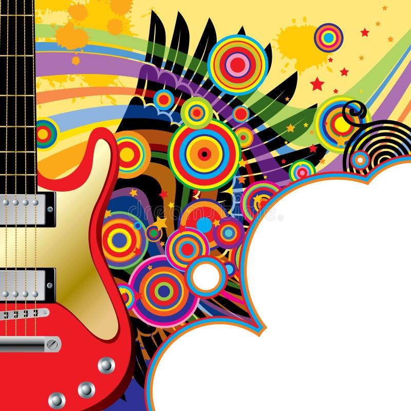 Fond avec une guitare rouge illustration stock