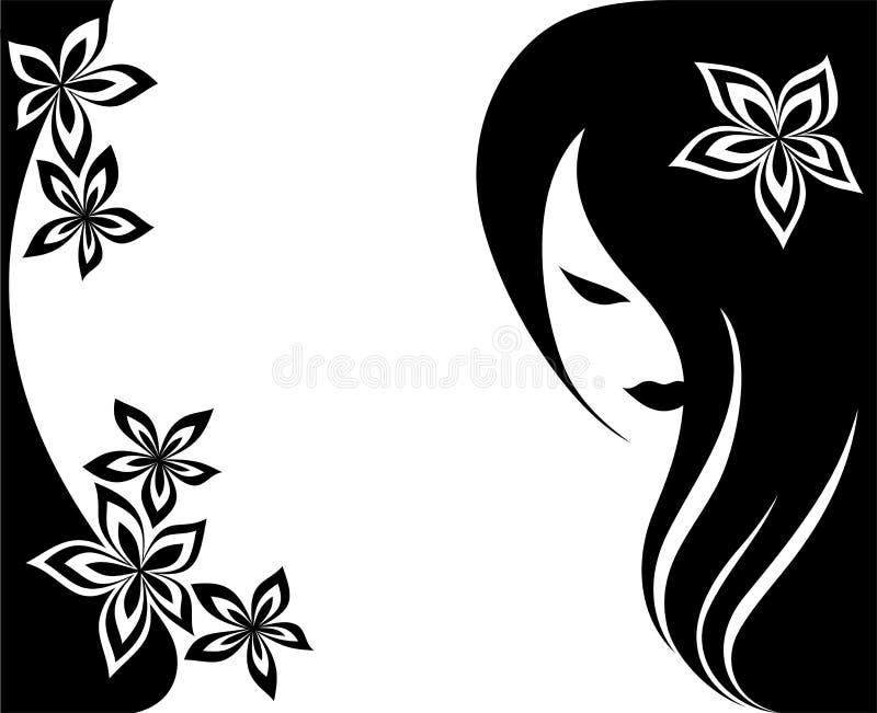 Fond avec une tête de la fille avec le long cheveu illustration libre de droits
